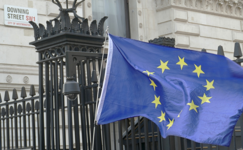 EU flag waving outside Downing Street