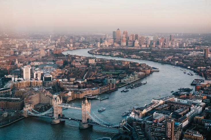 London skyline from Tower Bridge to Canary Wharf
