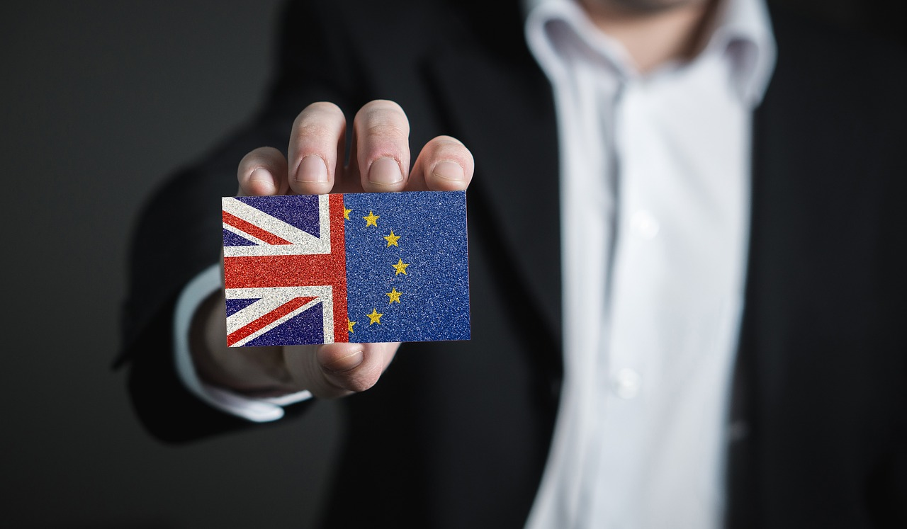 Man holding card that is half British flag and half EU flag